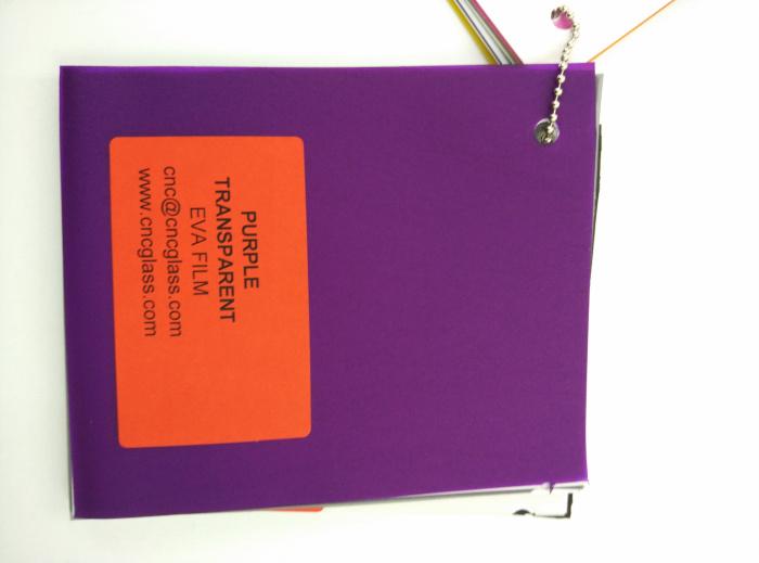 Purple Transparent Ethylene Vinyl Acetate Copolymer EVA interlayer film for laminated glass safety glazing (74)