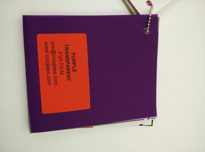Purple Transparent Ethylene Vinyl Acetate Copolymer EVA interlayer film for laminated glass safety glazing (80)