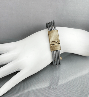 Gray Leather Gold Clasp