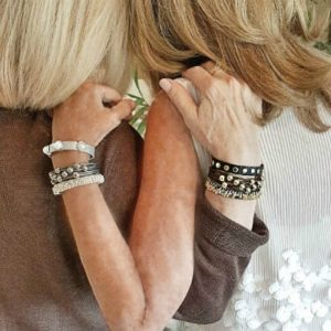Best Friends wearing their Wrap Your Style Leather Bracelets