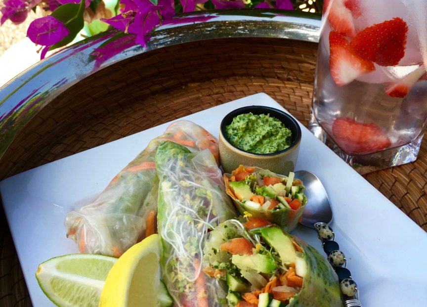 SPRING ROLL WRAPS WITH LEMON PESTO