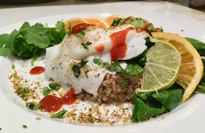 GARLICKY GREENS WITH EGG And QUINOA