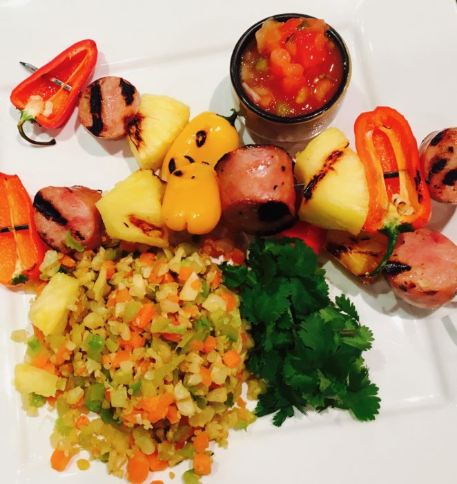CHICKEN SAUSAGE KEBABS WITH PEPPER, PINEAPPLE, and MANGO SALSA