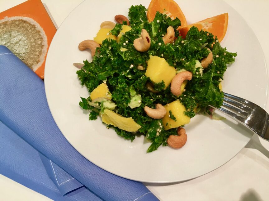 MANGO AVOCADO KALE SALAD WITH QUINOA CRUNCH
