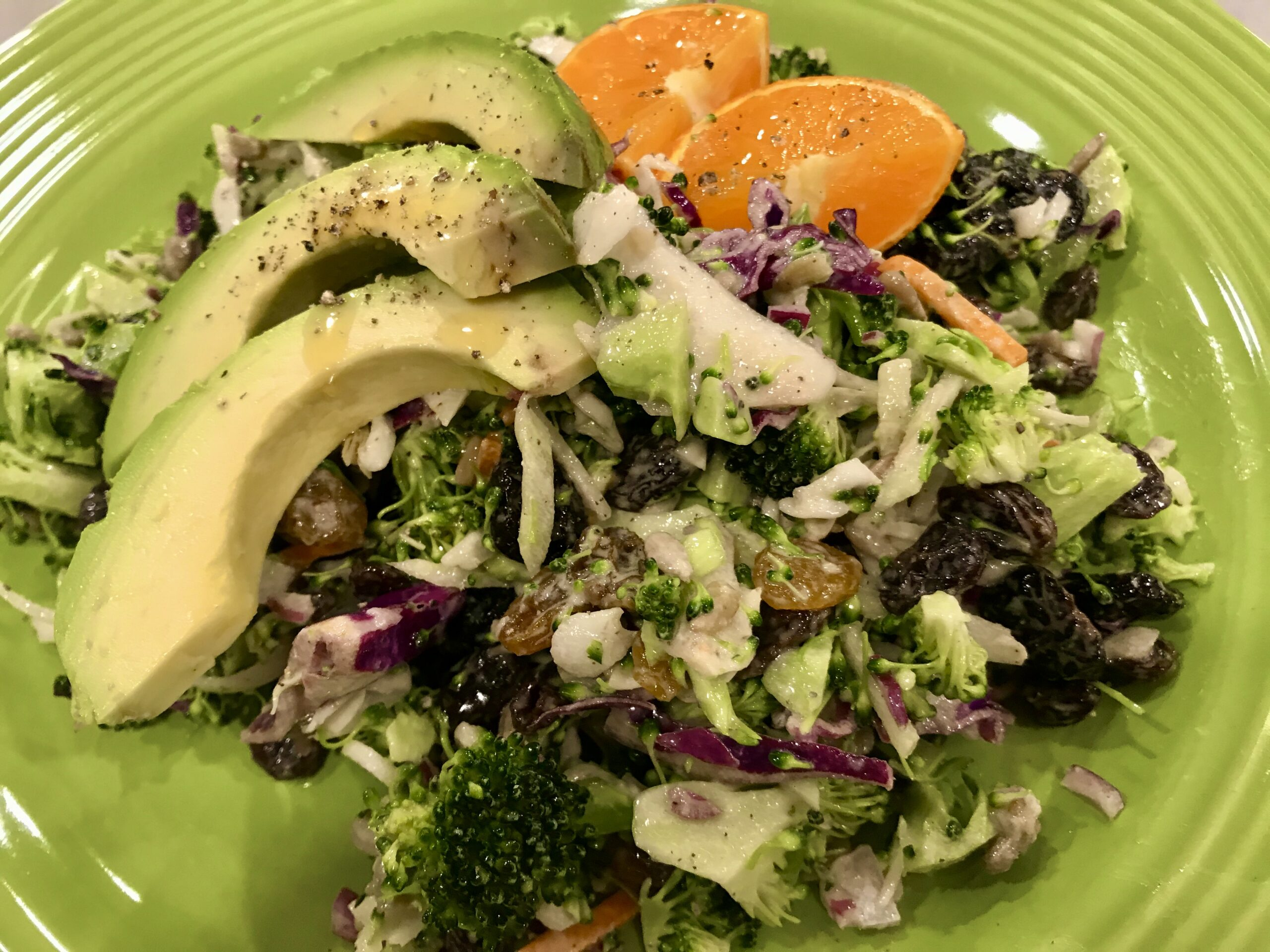 CHOPPED BROCCOLI SALAD WITH CHERRIES AND SUNFLOWER SEEDS