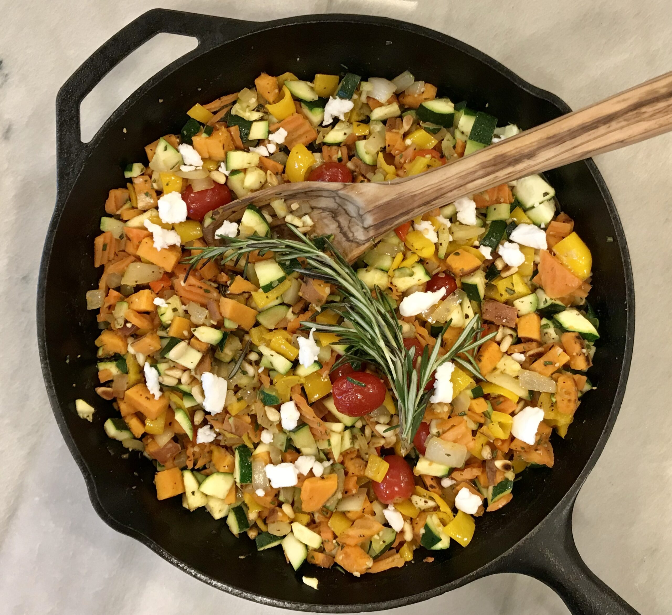 ONE SKILLET VEGGIE HASH WITH ROSEMARY AND GARLIC