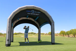 shaded golf club club fitting tent