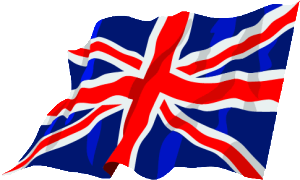 Union Jack flapping in wind from the right