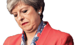 Theresa May looking downcast in a snappy red jacket