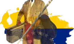 Cover Page 189 Simon Bolivar with suitcase and refugees leaves an outline of Venezuela with its flag behind