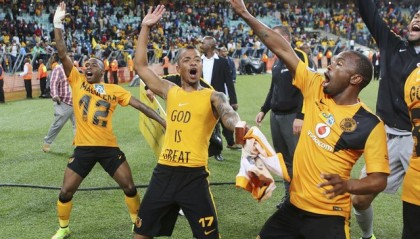 DURBAN, SOUTH AFRICA - SEPTEMBER 20: George Lebese and Bernard Parker celebrate during the MTN 8 Final match between Kaizer Chiefs and Orlando Pirates at Moses Mabhida Stadium on September 20, 2014 in Durban, South Africa. (Photo by Anesh Debiky/Gallo Images)