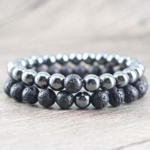 Hematite & Rock Lava Stone Stability Bracelets