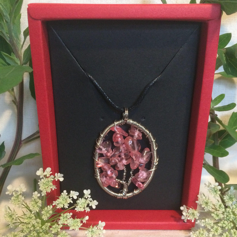 Cherry Quartz Tree Of Life Necklace