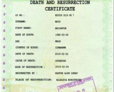 Death and resurrection certificate
