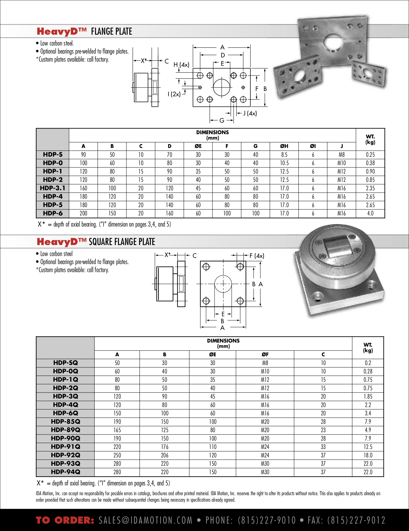 HeavyD Flange Plates - weldable plates for high load cam followers