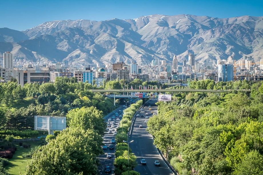 Tehran view of city and mountains