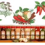 Herbs including black pepper, red pepper, oregano and cumin