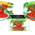 Tomato illustrations used on packaging for H E B Groceries.