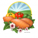 Logo illustration of peppers and sweet potatoes for Southern Produce Company.