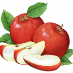 Two whole red apples and four apple slices with leaves