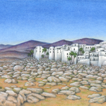 White-washed Greek desert village scene