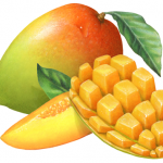 Mango whole with a cut half mango that has been cubed plus a mango slice
