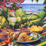 Tropical beach scene with Mexican food. salsa ingredients, and a Margarita on a Mexican blanket.