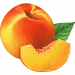 Whole peach with peach slice and leaf