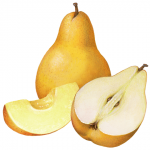 Whole yellow Bartlett pear with a cut pear half and slice