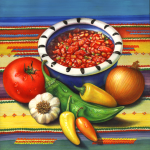 Salsa and its ingredients including tomato, onion, garlic, jalapeno peppers and Anaheim pepper