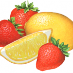Three strawberries, one whole lemon and one lemon wedge