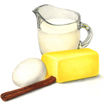 Baking ingredients including small pitcher of milk, cinnamon stick, quarter of butter and an egg