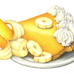 Banana cream pie on a white plate with a half peeled banana and banana slices