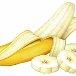 Half peeled banana with three banana slices