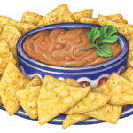 Blue plate of corn tortilla chips with a bowl of bean dip