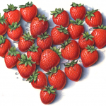 Heart shape made of strawberries
