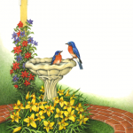 Garden scene with flowers, a birdhouse, and bluebirds in a birdbath