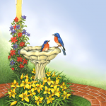 Garden scene with flowers, a birdhouse, and bluebirds in a birdbath with a blue sky background