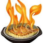 Saganaki flambe cheese