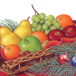 Christmas fruit basket filled with oranges, pears, grapes, apples and nuts with pine, spruce branches on a red tablecloth