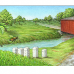 Bee hives and red covered bridge scene