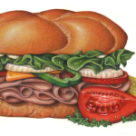 A deli sandwich with ham, cheddar cheese, lettuce, mayonnaise, tomato, pepper, onion, on a bun with a dill pickle slice and a tomato wedge for a garnish.