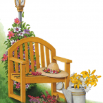 Garden scene with flowers, wooden chair, light post, watering can, garden hat and flower basket