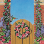 Garden gate scene with flowers and hummingbird