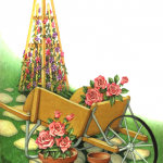 Garden scene with a wheelbarrow, flower trellis, flowers and pots