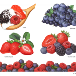 Strawberries, blueberries, acai berries, raspberries and blackberries