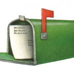 Open green mailbox with an envelope inside
