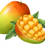Mango whole with a cut half mango that has been cubed