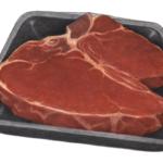 Raw beef porterhouse steak on a foam container.