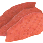 Three uncooked veal scallopini cutlets.